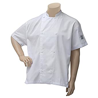 6ec0de349 Amazon.com: Chef Revival Chef Coat White Poly Cotton Short Sleeve ...