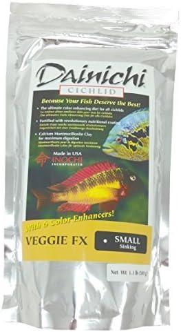 Dainichi Cichlid Veggie FX - Bolso para fregar (1,1 lb), pellet pequeño, 39% de proteínas