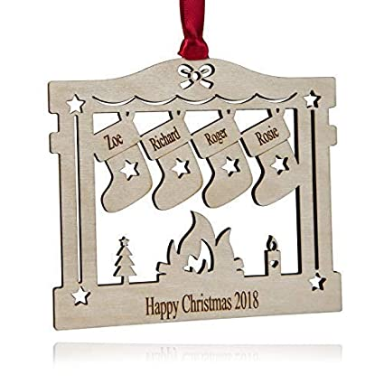 Personalised Christmas Decoration Fireplace 2 7 Names Engraved