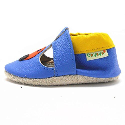 Sayoyo Suaves Zapatos De Cuero Del Bebé Zapatillas Coche azul