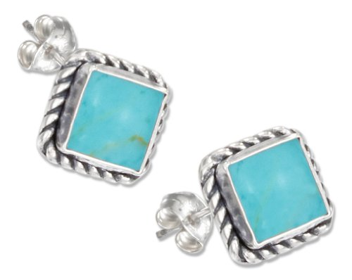 Sterling Silver Square Roped Edge Turquoise Post Earrings