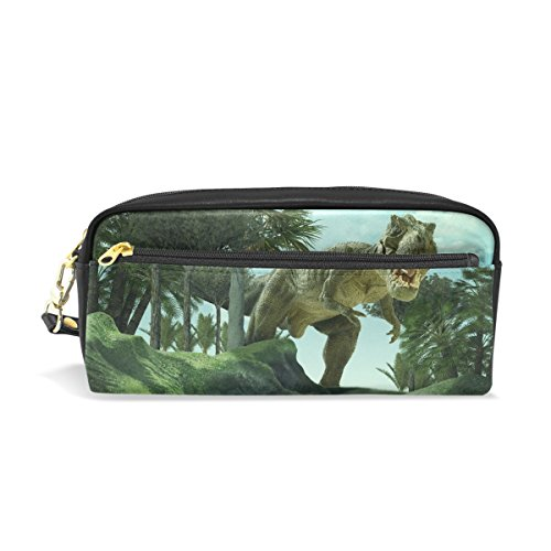 Bed Head Pencil Sharpener (Tyrannosaurus Rex Dinosaur Pattern Print PU Leather Pencil Case Portable Pen Organizer Pouch Stationary Case Makeup Cosmetic Bag)