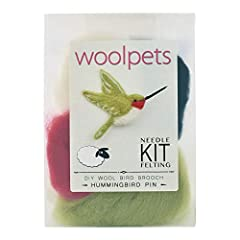 """Woolpets Kits contain needle felting materials and easy to follow instructions - perfect for a beginner. This Hummingbird Pin Kit is rated 'Easy' and contains enough material to make a 1.75"""" x 3"""" bird that can be come a brooch, ornament or ma..."""