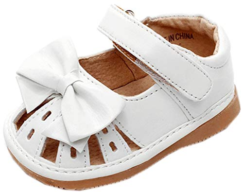 (Jiazibb Baby Girl Velcro Leather Butterfly Squeaky Toddler First Walkers Sandals (# 2/Insole Length:120mm, White) )