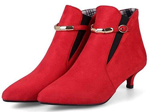 Idifu Kvinna Sexig Mitten Stilettklackar Pekade Tå Spänne Kort Boots Faux Mocka Röd