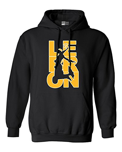 Beach Open Lebron Fan Wear 23 Los Angeles LA Basketball DT Sweatshirt Hoodie (Small, Black w/Gold White)