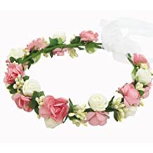 Multicolor Simple EVA Foam Rattan Wedding Flower Girl Crown Headband Halo Circlet Head Wreath Floral Headpiece Hippie Hair Garland Accessories (Pink)