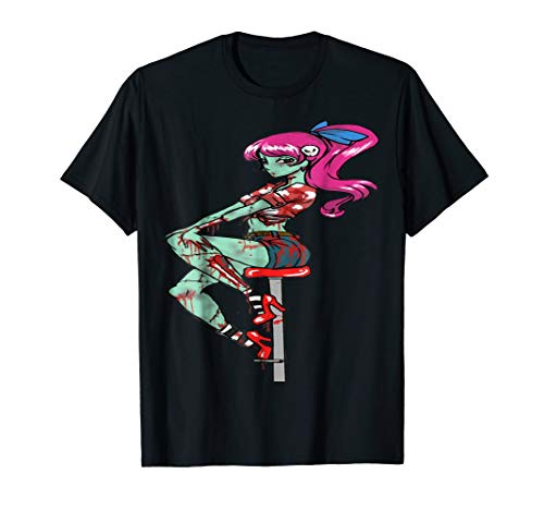Pin up Zombie Girl Halloween Scary Costume T-Shirt Tee Gift -