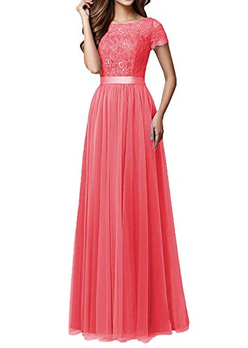 Kevins Bridal Women's Lace Bridesmaid Dresses 2017 Tulle Long Prom Evening Dress Coral Size (Impression Bridal Wear)