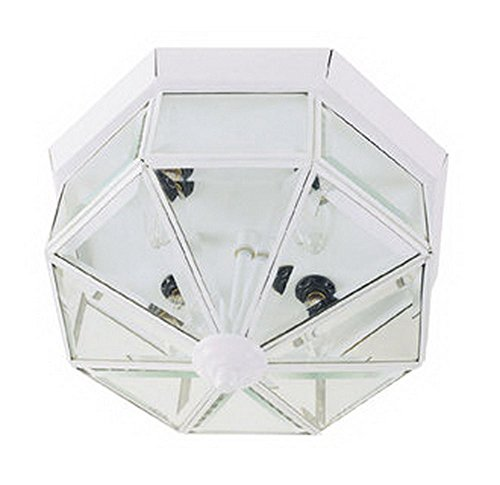 GHP Home 6.5''H White Clear Beveled Bound Glass Flush Mount Ceiling Fixture Bound Glass Ceiling Fixture