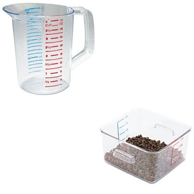 KITRCP3216CLERCP6304CLE - Value Kit - Rubbermaid-4 Qt. Clear Square Carb X Space Saving Container; 8 3/4quot; X 8 5/16quot; (RCP6304CLE) and Rubbermaid-Clear Bouncer Measuring Cups 1 Quart ()