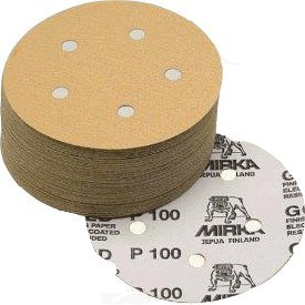 Mirka 23-614-800 Bulldog Gold 5-Inch 5-Hole 800 Grit Grip Vacuum Discs, 50-pack - Grit Grip Disc