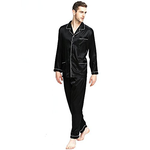 Mens Silk Satin Pajamas Set Sleepwear Loungewear Black 2XL