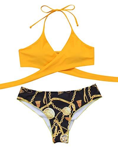 MOSHENGQI Women Front Cross Halter Push up Bikini Printing Brazilian Tanga 2 Piece Cute Swimsuits(Large, Golden Yellow80)