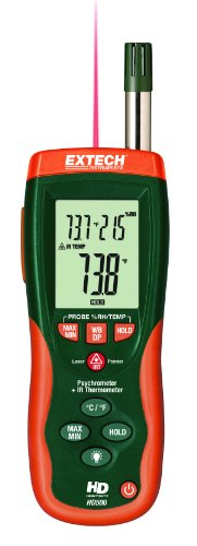 - Extech HD500 Psychrometer with Infrared Thermometer