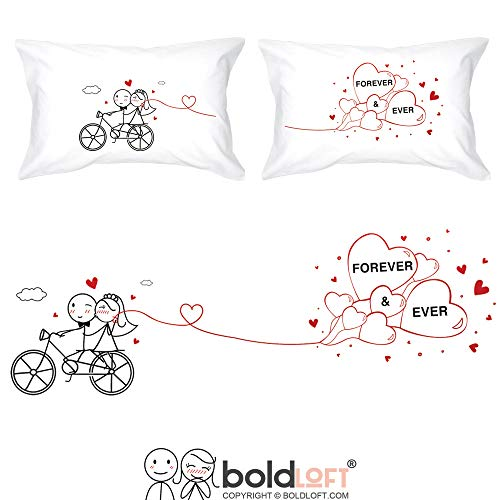 BoldLoft Forever & Ever Couples Pillowcases for Bride and Groom-Wedding Gifts for Couple Wedding Bridal Shower Gifts Engagement Gifts for Couples Newlywed Gifts Bachelorette Gifts (Best Wedding Gifts Ever)