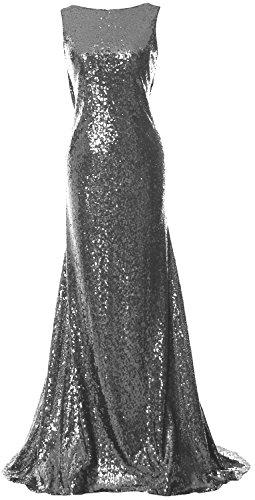 Macloth Capot Élégante Robe De Demoiselle D'honneur Retour À Long Sequin Simple Gris Robe De Bal