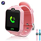 Kids Smart Watch, Phone Game Smartwatches for Kids Wristwatch with Camera SOS Suitable for Android/ISO Cool Educational Toys Gifts Girls Boys (Pink)