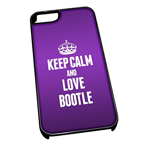 Nero cover per iPhone 5/5S 0083 viola Keep Calm and Love Bootle