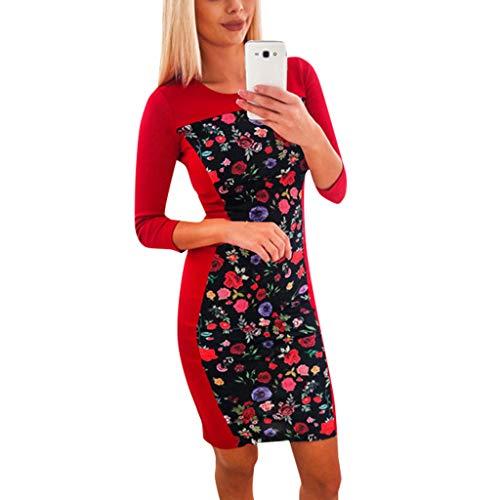 GREFER Women Long Sleeve Dress Fashion Crew Neck Jumper Slim Fit Dress ()