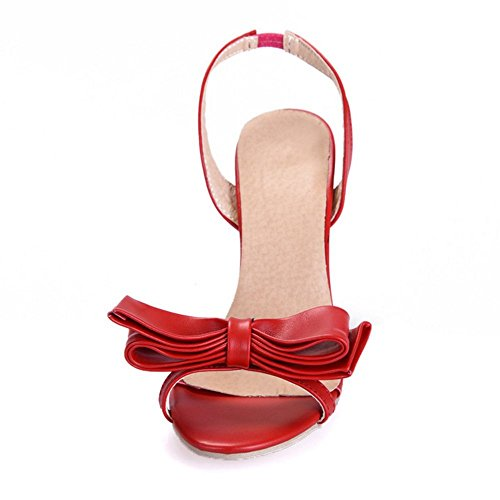 Heel High with LongFengMa Sexy Red Bowtie Backstrap Sandals Women CtxxqnwOSg