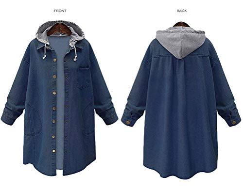 Innifer Women's Casual Long Denim Coat with Hood Long Sleeve Windbreaker Plus Size Jean Jacket Outwear by Innifer (Image #3)