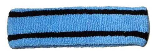 Striped Headband Carolina Blue/Black (Striped Cotton Headband)