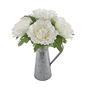 "Flora Bunda Artificial Flowers 13"" Tall White Peony in Tin,White Peony 8"