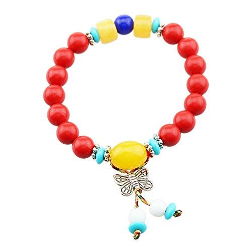 FOY-MALL Butterfly Charm 8mm Cinnabar Beads Stretch Bracelet E1443