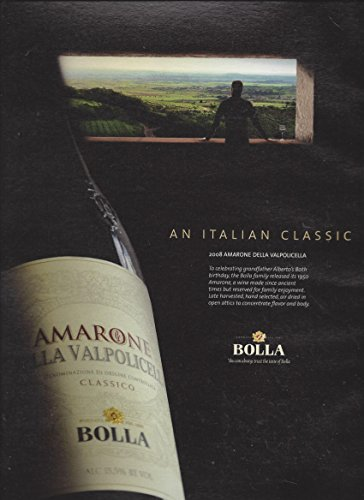 MAGAZINE ADVERTISEMENT For Bolla Amarone Valpolicella Wines: An Italian - Della Amarone Valpolicella