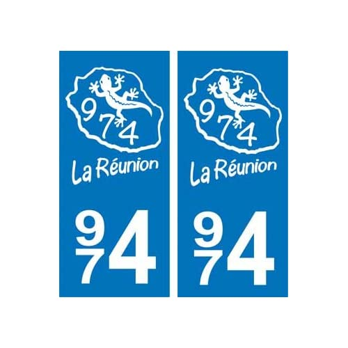 59b82ed25dda chic 2 Autocollants Plaque Immatriculation Auto 974 Blason de la Réunion