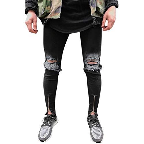Pantalones para Hombres Destruidos Pantalones del Los Vaqueros De Estiramiento Ropa Pantalones Vaqueros De Mezclilla Pantalones del Ocio Slim Fit Torn Hip Hop De La Vendimia De La Calle Use Negro Negro