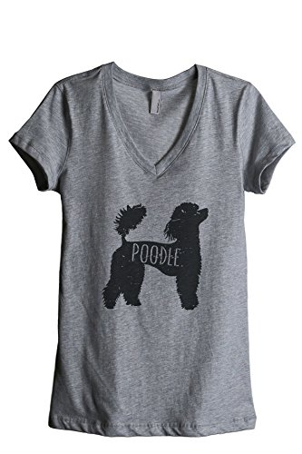 Poodle Tank - Thread Tank Poodle Dog Silhouette Women's Relaxed V-Neck T-Shirt Tee Heather Grey Medium