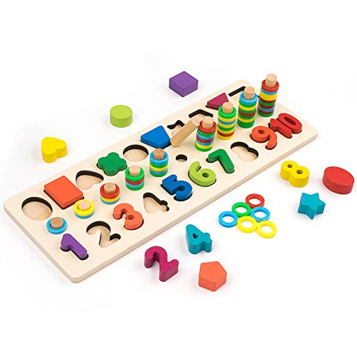 3-in-1 Wooden Blocks Puzzle Board Set, Math Toddler Kids Early Education Shape Sorter Counting Numbers 0-10 Ring, Learning & Educational Toys for Number Counting, Shape Sorting, Colors Stacking