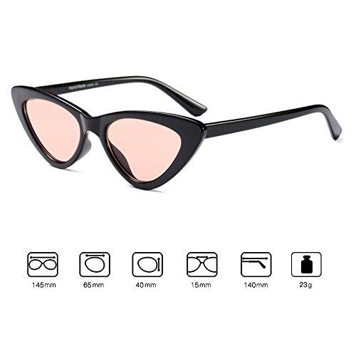Sol Mod Rosa negro Sunglasses de Moda Gafas Cat de Mujer Eye Gafas sol de Retro de Vintage qxOwZ5Bc