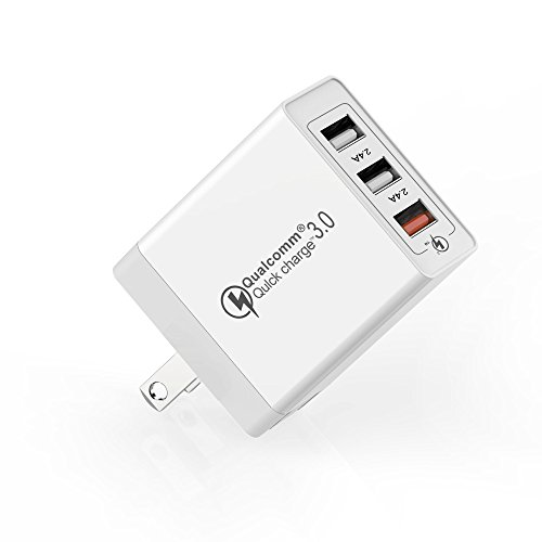 3 Ports USB Wall Quick Charger, UMECORE Travel Wall Charger Plug AC Power Adapter Fast Qualcomm QC 3.0 For Smart Phone Samsung Galaxy S9,S9+,S8,S7,S6,iPhone X,8,7 (White)