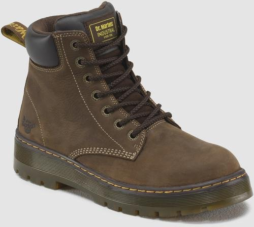 Dr. Martens Men's Winch 7-eye Lace-up Steel-toe Dark Brown Boot, 10 M UK / 11 D(M) US Mens Brown Steel Toe Boot