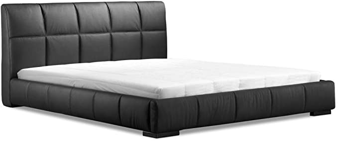 Amazon Com America Luxury Bedroom Modern Contemporary King Size Bed Black Leatherette Wood Furniture Decor