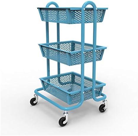 IhDFR ベッドルームキッチンバスルームガレージOfficeのロック可能なホイールの理想と転がりカート3ティアメッシュユーティリティカートメッシュワイヤーストレージカート