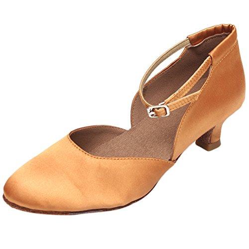 Azbro Mujer Zapato de Baile Waltz Suela Suave Correa Tobillo de Tacón Medio Marrón