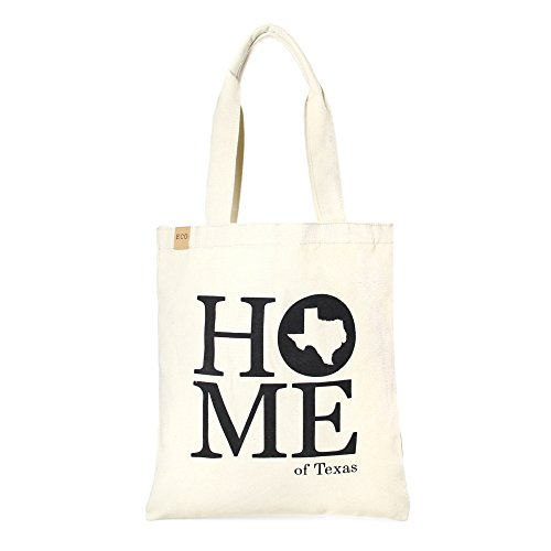 Me Plus Eco Cotton Canvas Stylish Printed Fashion Shopping and Travel Tote Bag (Home of Texas)