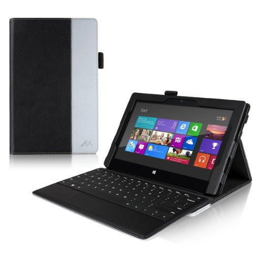 Manvex Leather Case for the Microsoft Surface PRO Tablet **NOW COMPATIBLE with the SURFACE PRO 2 / ALSO WORKS with both Microsoft Keyboards!** | Built-in Stand with Multiple Viewing Angles with Stylus Holder - Black/Gray