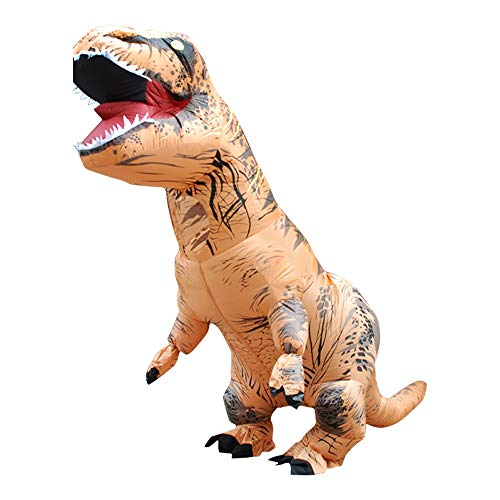 Nacome Inflatable Dinosaur Costume - Adult Giant Jurassic T-Rex Blow up Halloween Costume (Brown)