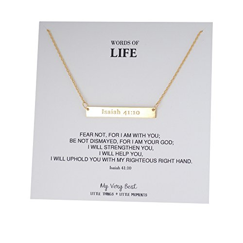 My Very Best Words of Life Christian Bible Verse Bar Necklace (Isaiah 41:10_gold plated brass) (Favorite Bible Verse)