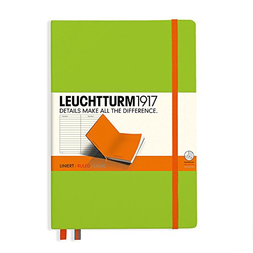 Leuchtturm1917 Medium Hardcover Biocolore Notebook, 5.75 X 8.25 inches, 249 Lined Pages, Lime/Orange (355546) by LEUCHTTURM1917