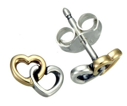 Pandora Earrings Two Tone Heart to Heart Studs 290567
