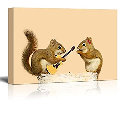 Canvas Prints Wall Art - A Young Male Squirrel Playing a Love Song for His Sweetheart - 16