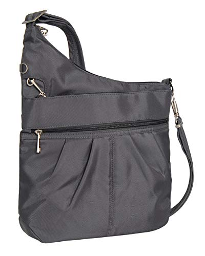 Travelon Anti-Theft Signature 3 Compartment Crossbody (One_Size, DARK GREY W/FLORAL LINING) by Travelon