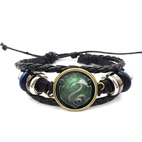 Snake Badge Logo Beaded Hand Woven Leather Bracelet Braided Punk Chain Cuff