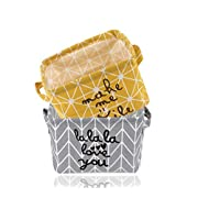 USATDD 2 Pack Small Foldable Storage Basket Canvas Fabric Waterproof Organizer Collapsible and Convenient for Nursery Babies Room 100% Cotton with Handle (Yellow+Grey)